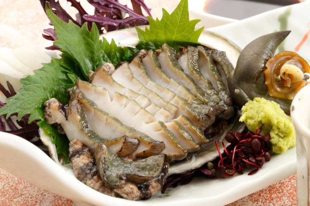 Raw sliced abalone
