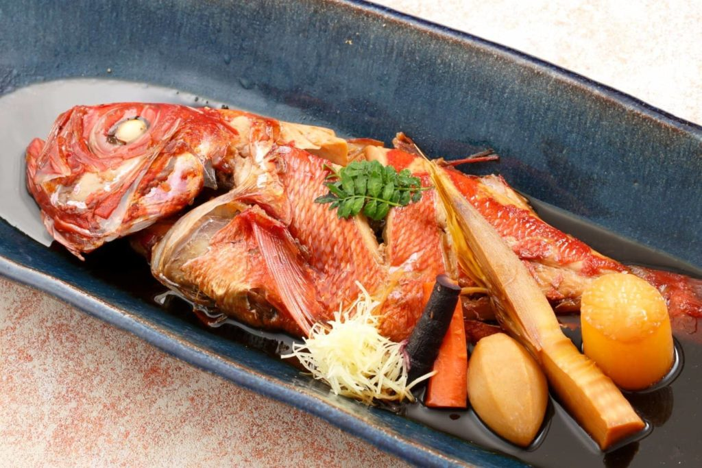 Simmered whole splendid alfonsino
