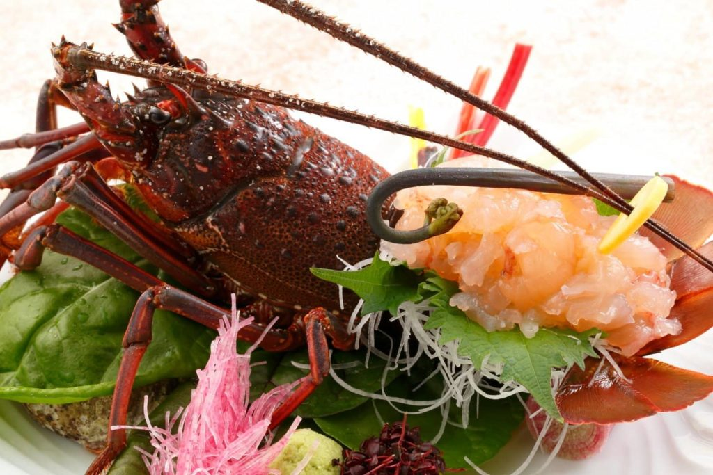 Raw sliced Japanese spiny lobster
